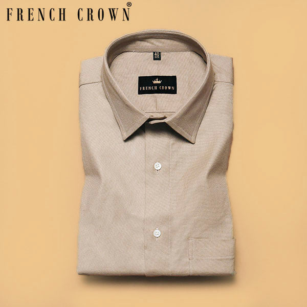 Cream Thick Oxford Shirt