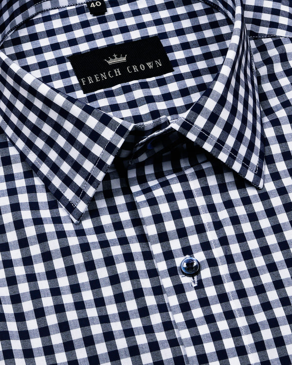 Blue Mini Checked Crisp Shirt