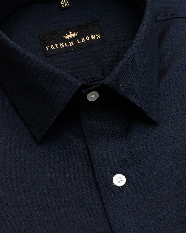 Navy Thick Oxford Winter Shirt