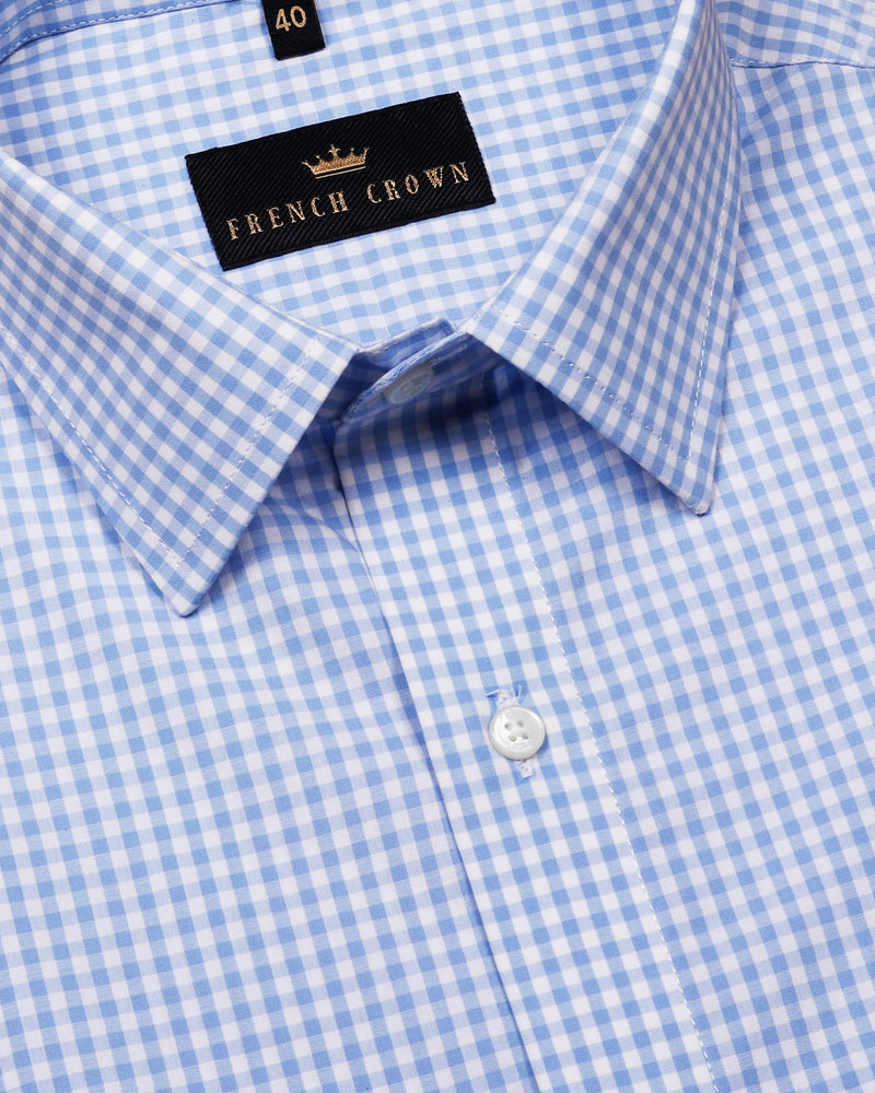 Sky Mini Checked Crisp Shirt