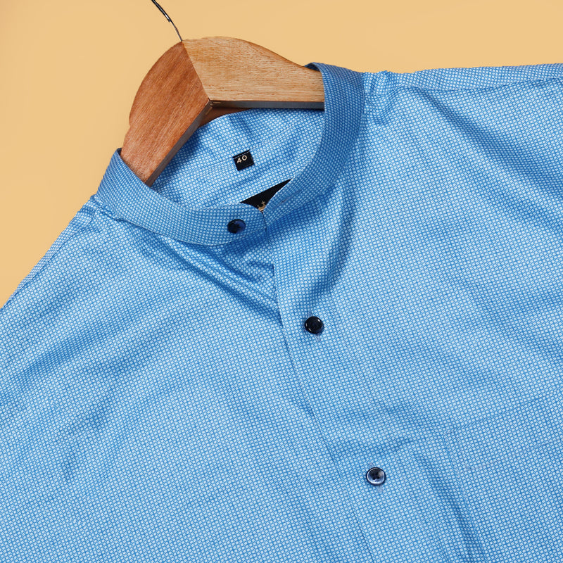 Blue Micro Circle Printed Premium Cotton Shirt