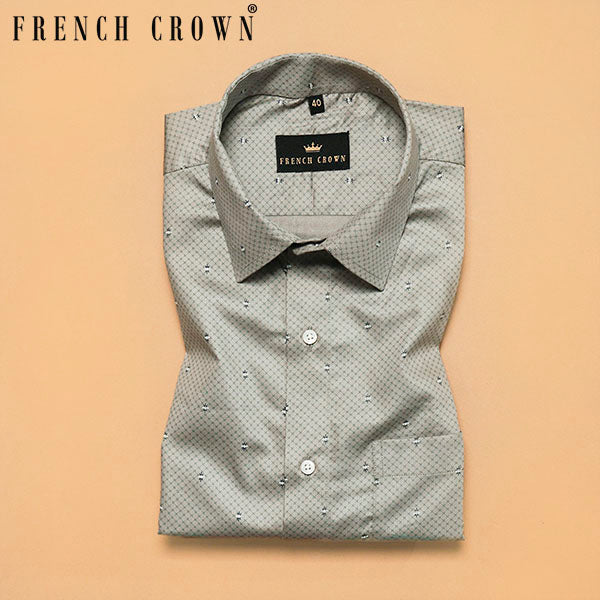 Sage Green Printed Premium Cotton Shirt