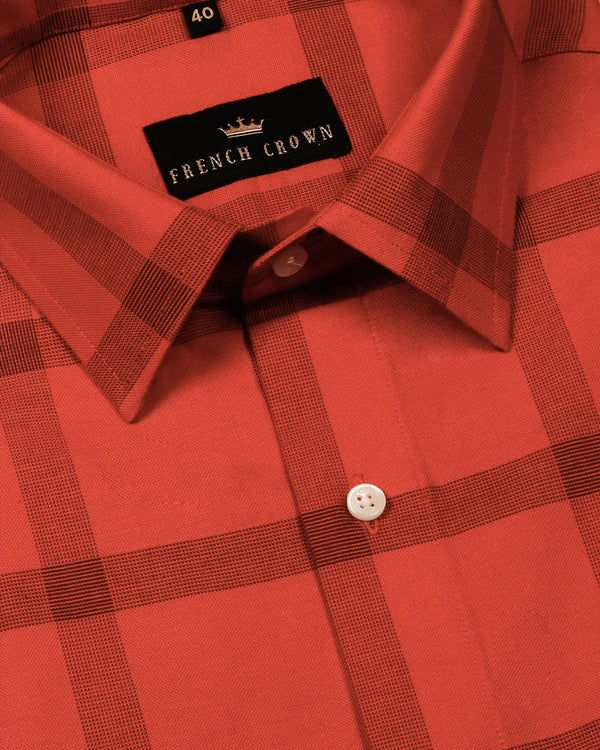 Candy Red Thick Oxford Checked Shirt