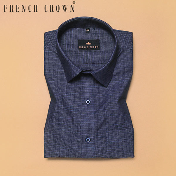 Denim Blue Royal Oxford Cotton-Linen Shirt