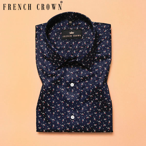 Navy Micro Printed Premium Cotton Shirt
