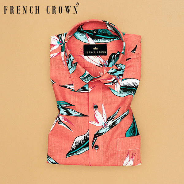 Orange Bold Print luxurious Linen Shirt