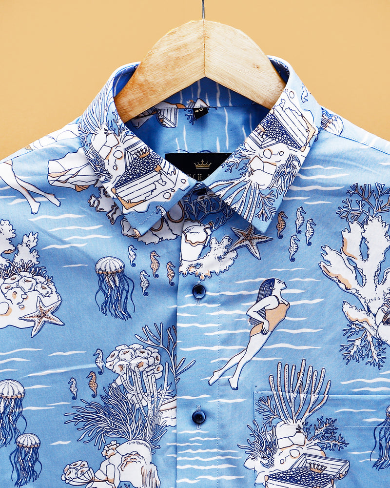 Marine Life Printed Premium cotton Shirt