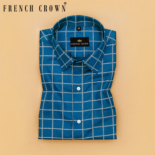 Blue Checked Super Soft Giza Cotton SHIRT