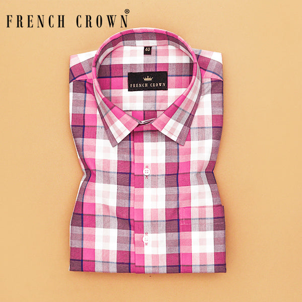 Bright Pink Plaid Premium Cotton SHIRT
