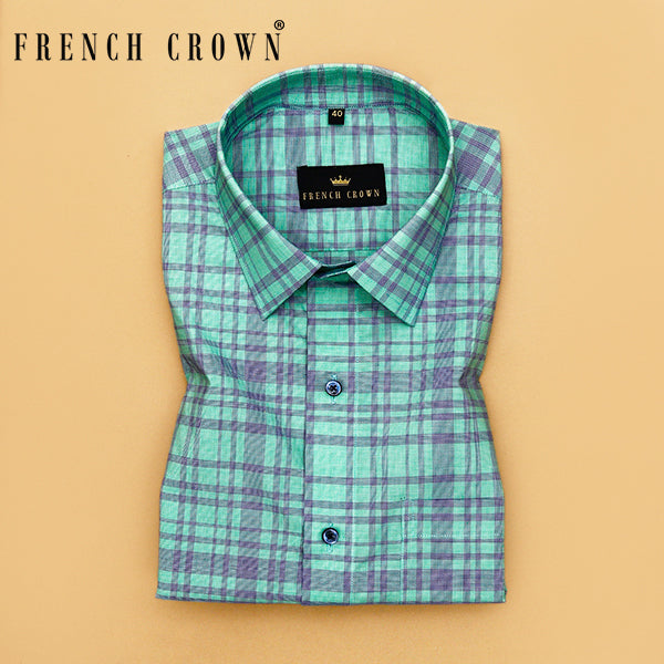 Lime with Blue Checked Premium cotton Shirt