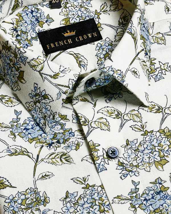 Sage Green Print luxurious Linen Shirt
