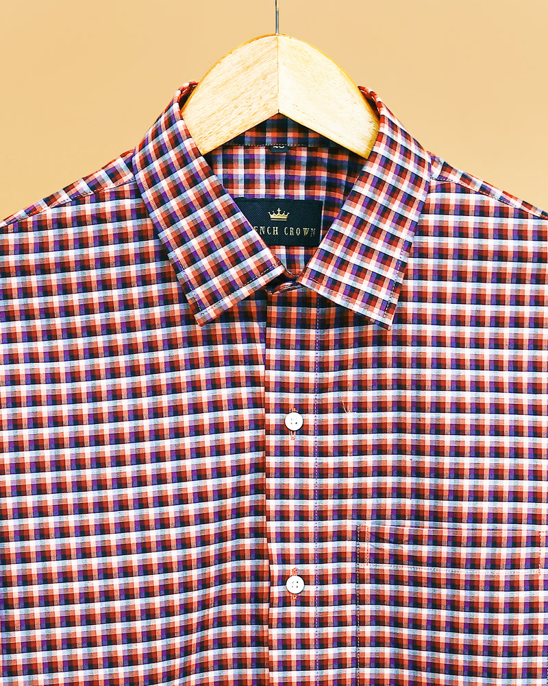 Performance Maroon, Blue and Black Micro Checked Shirt
