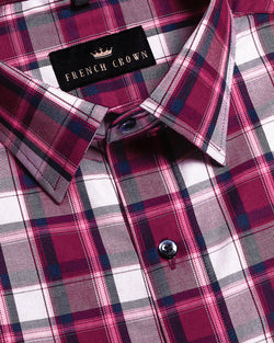 Maroon, Navy and Pink Plaid Premium Cotton SHIRT
