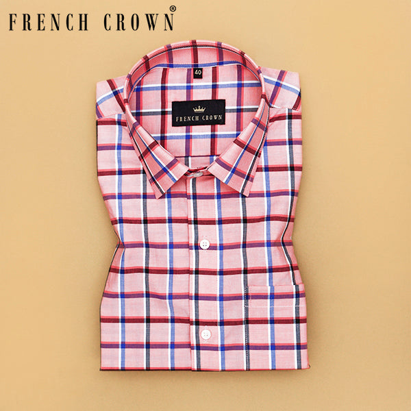 Pink Windowpane checked Premium Cotton shirt