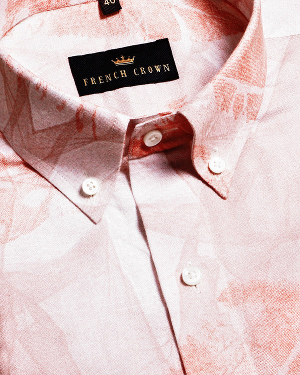 Peach Print luxurious Linen Shirt