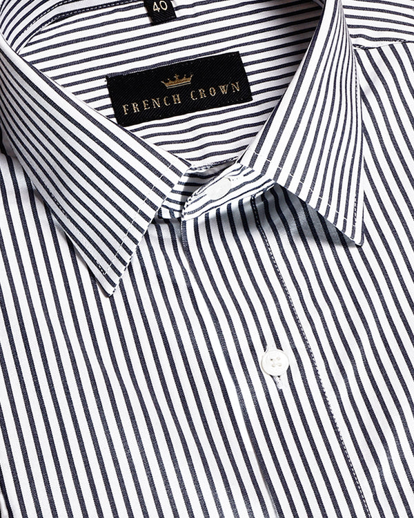 White Micro Striped Premium Cotton Shirt