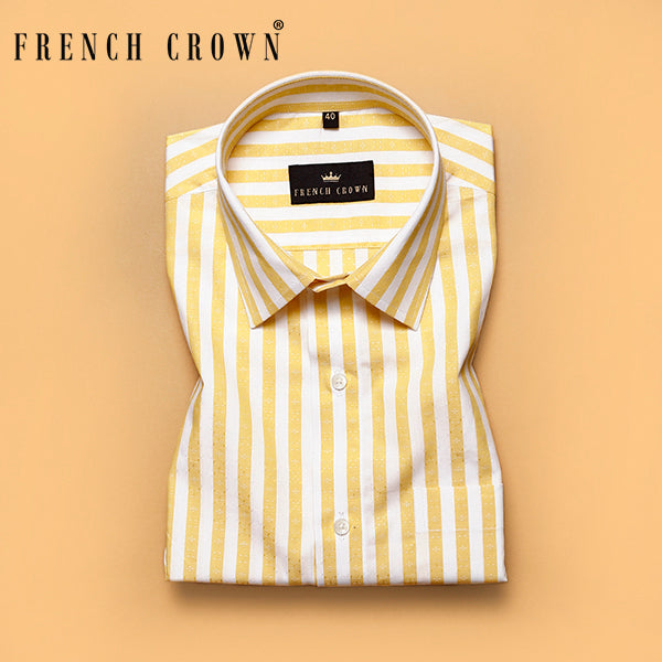 Yellow striped and Textured Giza Cotton shirt