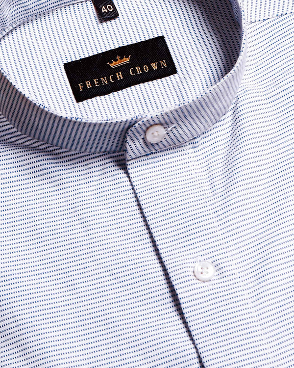 White with Micro Dotted Striped Giza Cotton shirt