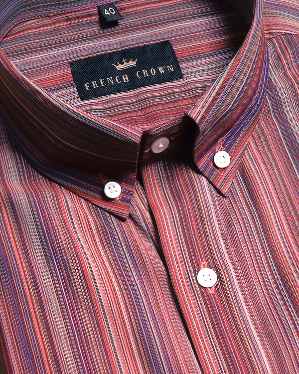 Red Multi-Micro Striped Poplin Shirt