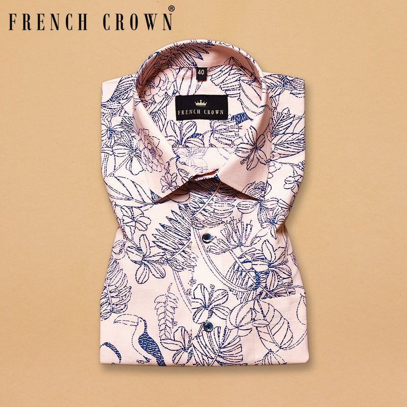 Peach flowers and Birds Printed Premium Cotton Shirt
