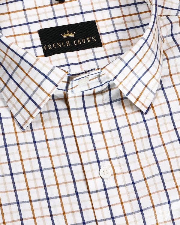 White Mini Checked Crisp Shirt