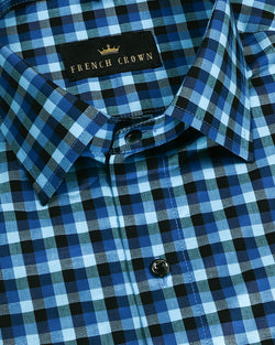 Blue and Black Textured Checks Giza Cotton shirt