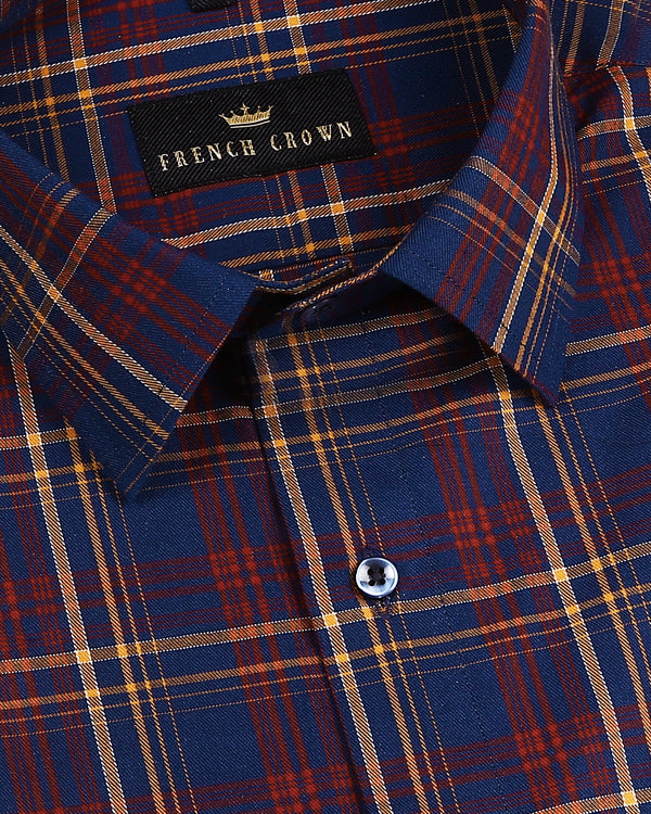 Navy with red and mustard Checked Premium Cotton SHIRT