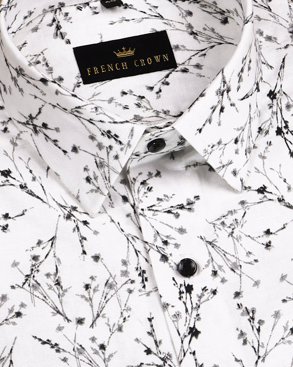 White with Black and Grey Print luxurious Linen Shirt