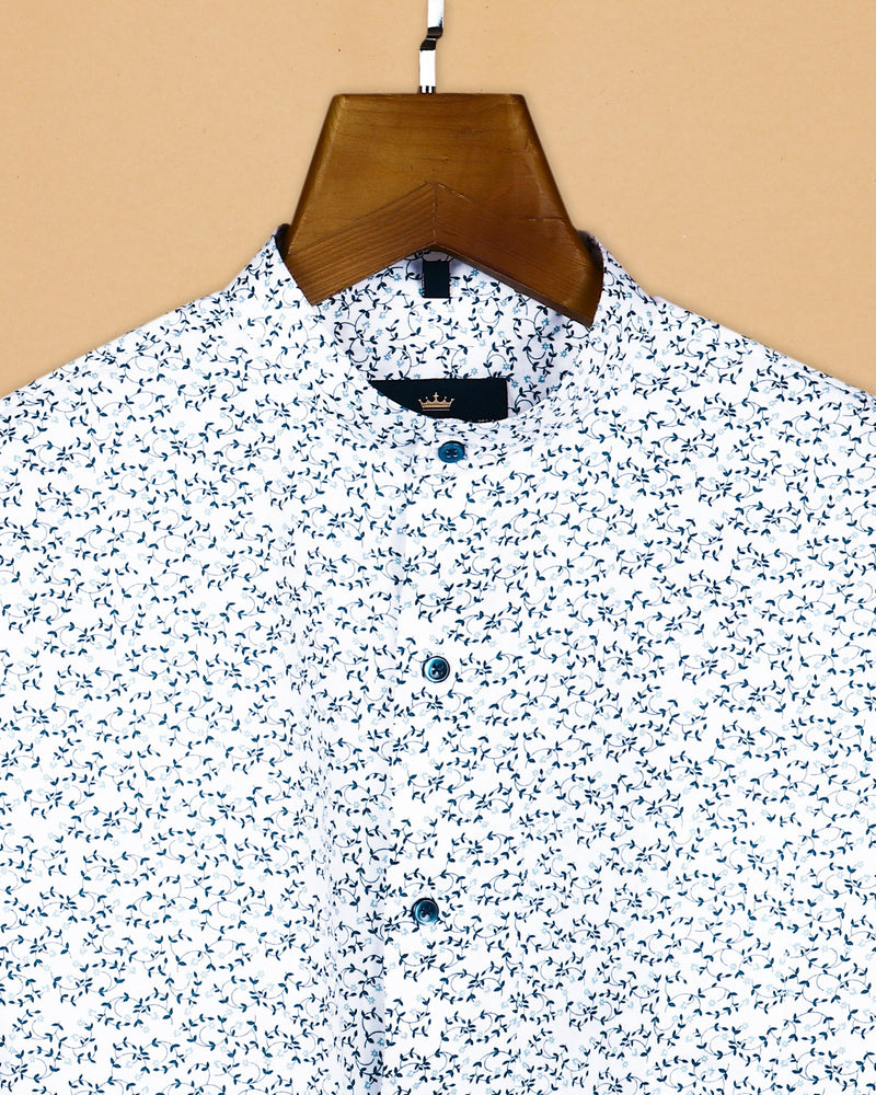 White Micro Printed Super Soft Premium Cotton Shirt
