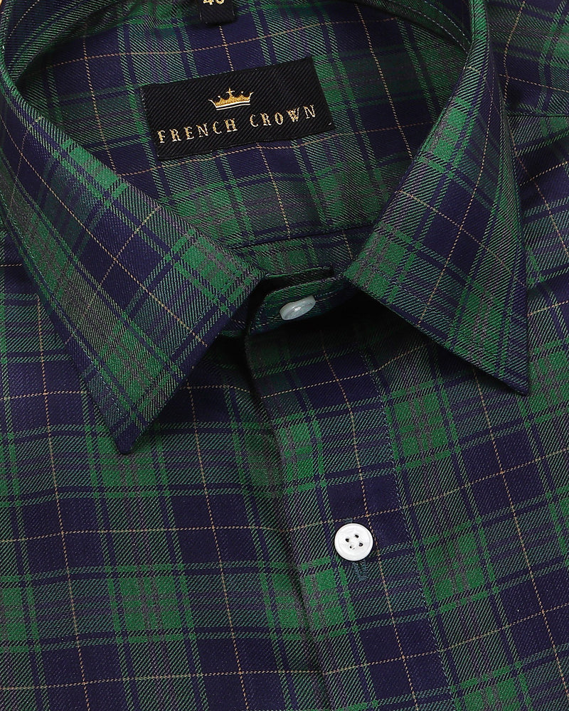 Green and Navy Checked Premium Cotton SHIRT
