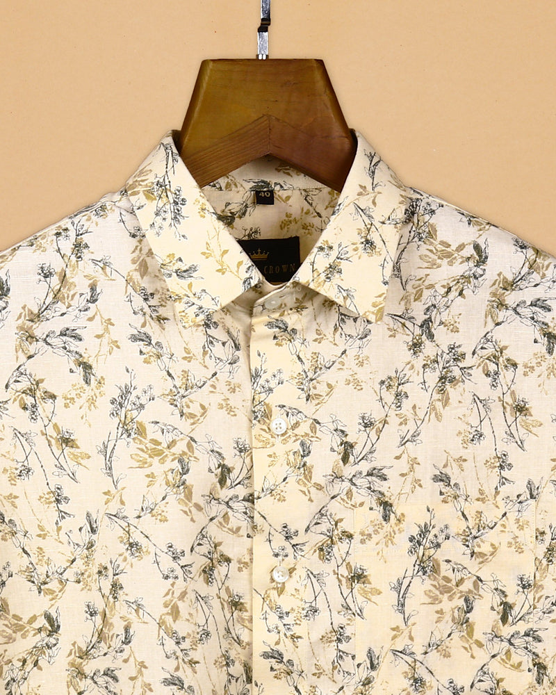Cream with Mustard and Green Micro Print luxurious Linen Shirt