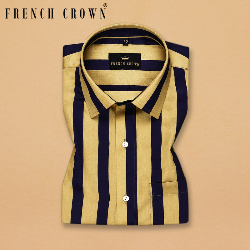 Golden with Navy Stripes Printed Super Soft Giza Cotton SHIRT