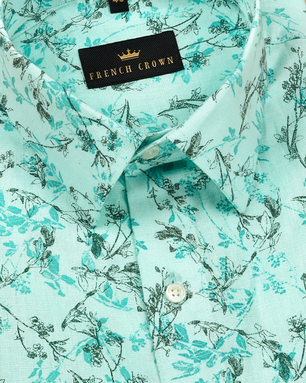 Aqua with Grey Micro Print luxurious Linen Shirt