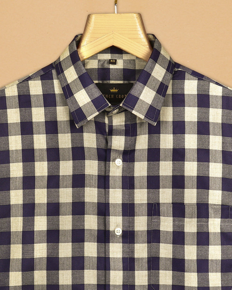 Brown with Navy Textured Checked Giza Cotton shirt