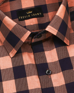 Orange and Black Checked Premium Cotton SHIRT