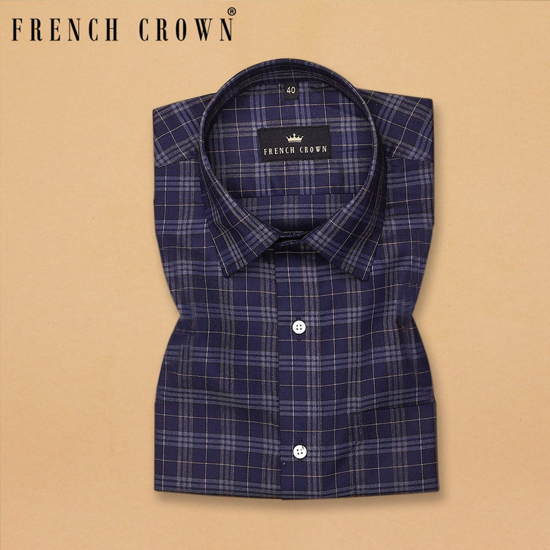 Navy with grey and Brown Checked Premium Cotton SHIRT