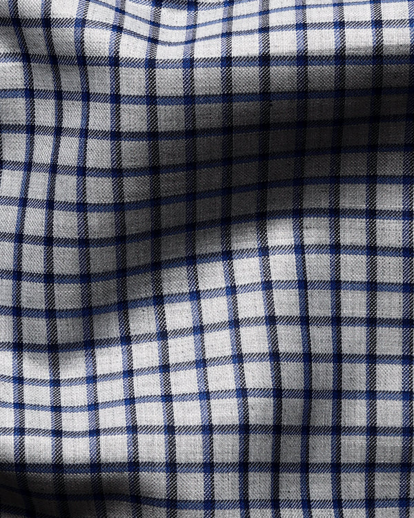 Grey with Black and Navy Checked Premium Cotton SHIRT