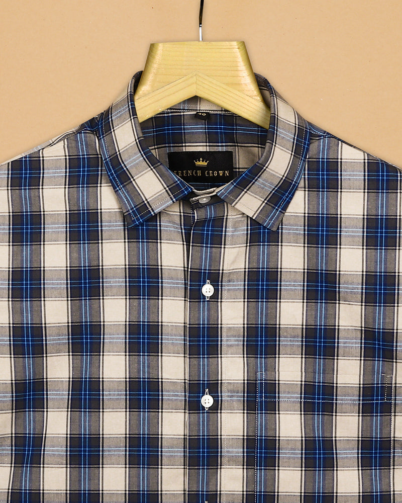 Brown with Blue Checked Premium Cotton Shirt