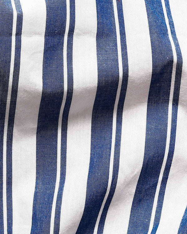 White and Blue Dual Striped Premium Cotton Shirt