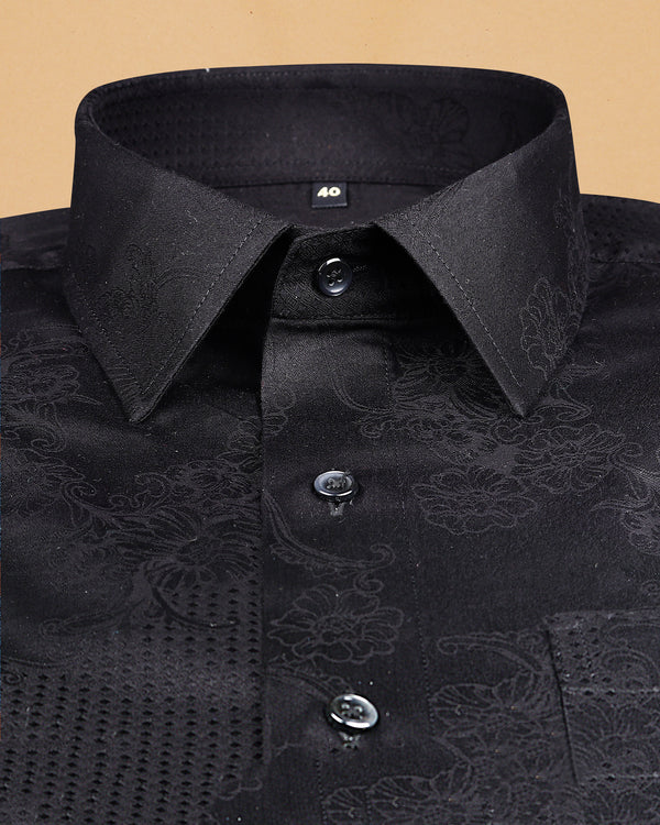 Rich Black Super Soft Flower and Diamond Jacquard Textured Giza Cotton SHIRT