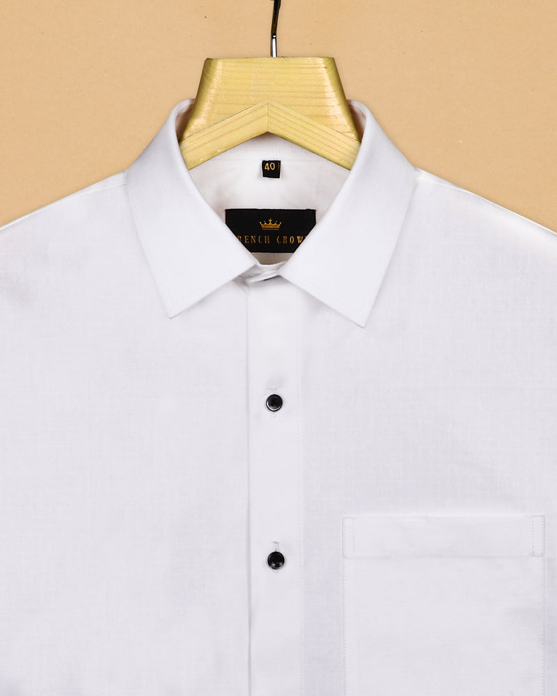 White Super Soft subtle Checks Jacquard Textured Heavyweight Giza Cotton SHIRT