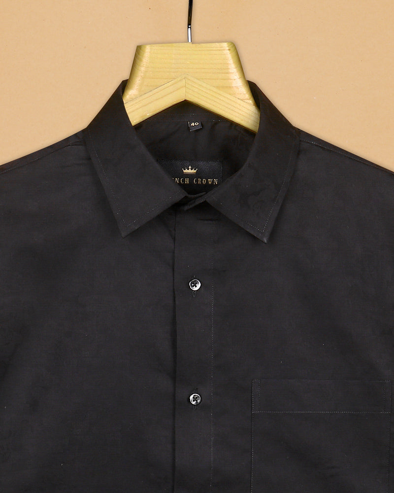 Rich Black Super Soft Military Jacquard Textured Giza Cotton SHIRT
