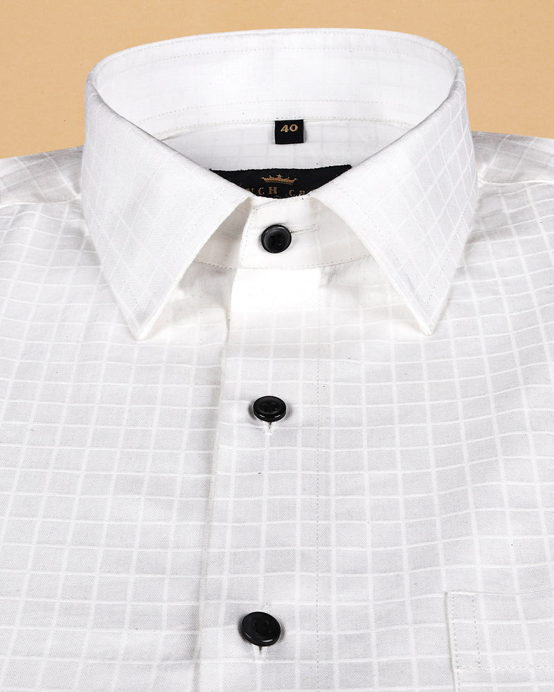 Bright White Super Soft Jacquard Windowpane Giza Cotton SHIRT