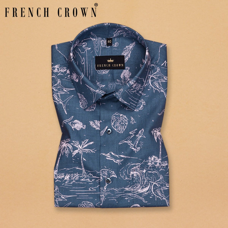 Air force Blue Beach Print Royal Oxford Shirt