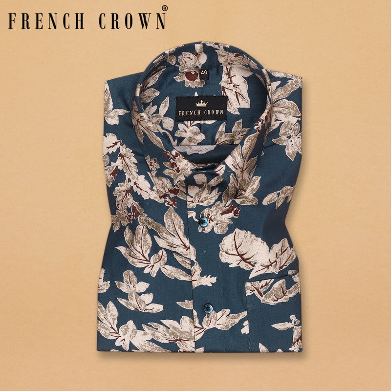 Air Force Blue Large Scale Flower Printed Shirt