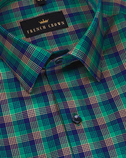 Green with Blue and Brown micro Plaid Premium Cotton SHIRT