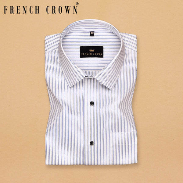 Bright White Business Ready Striped Premium Cotton Shirt