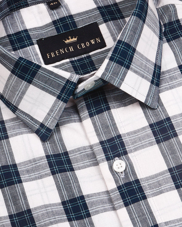 Cream with Blue Madras Plaid Shirt