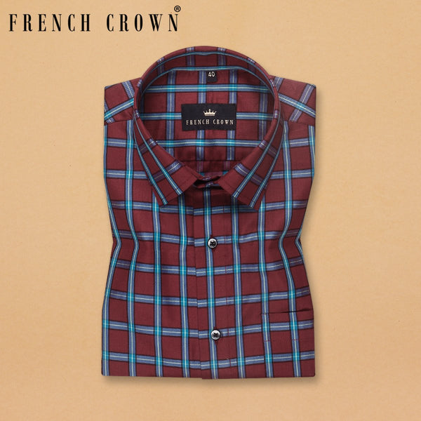 Maroon with Blue Windowpane Ultra Soft Premium Cotton SHIRT