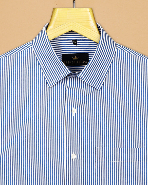 Blue Micro Bengal Stripe Premium Cotton Shirt
